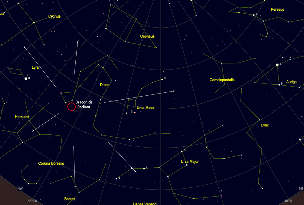 Draconid meteor shower radiant looking North
