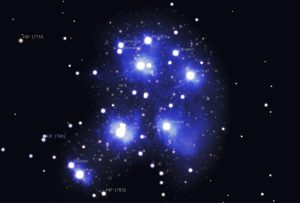Pleiades star names from Stellarium