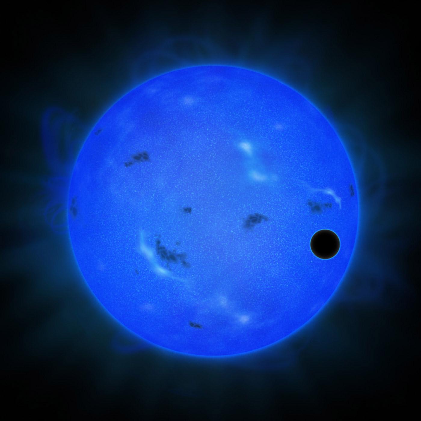 Artist's rendition of a transit of GJ 1214 b in blue light. The blue sphere represents the host star GJ 1214, and the black ball in front of it on the right is GJ 1214 b. (Credit: NAOJ)