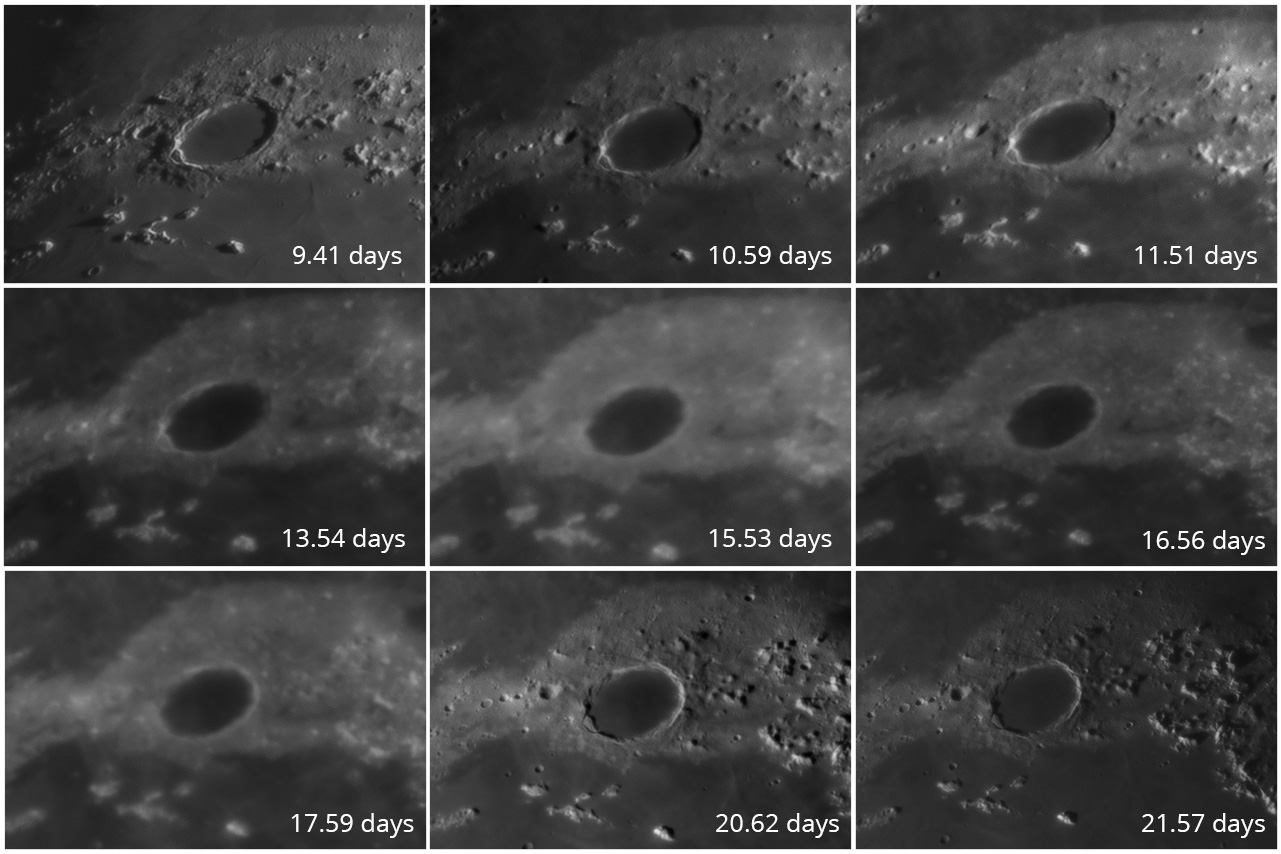 Crater Plato through 9 Lunar phases