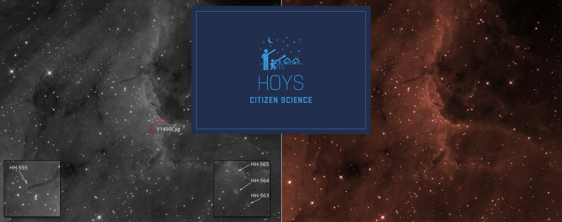 Pelican nebula and HOYS logo
