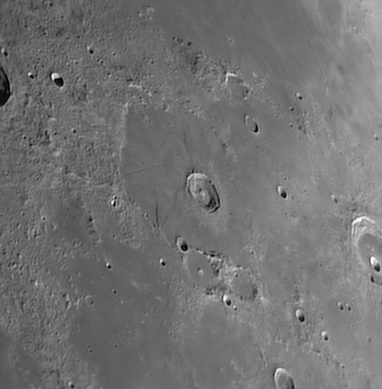 L34 Lacus Mortis Strange crater with rille and ridge