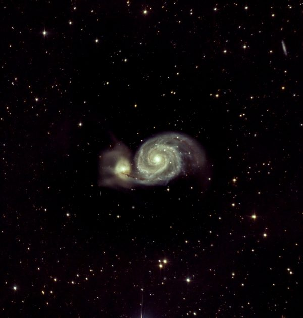 Whirlpool Galaxy or M51 (Ian Smith) Skywatcher 200p, NEQ6 mount, UV/IR Cut filter, Baader MPCC M3 coma corrector, ASI294MC Pro at -20C. NINA Observatory Software. 35 x 300 second (2 hours 55 minutes) at Gain 121, Offset 30, dithering every 3rd frame, 40 dark frames, 40 flat fields, 40 dark flat frames. Processed in APP, Topaz de-noise and Photoshop. 12th/13th April 2021.