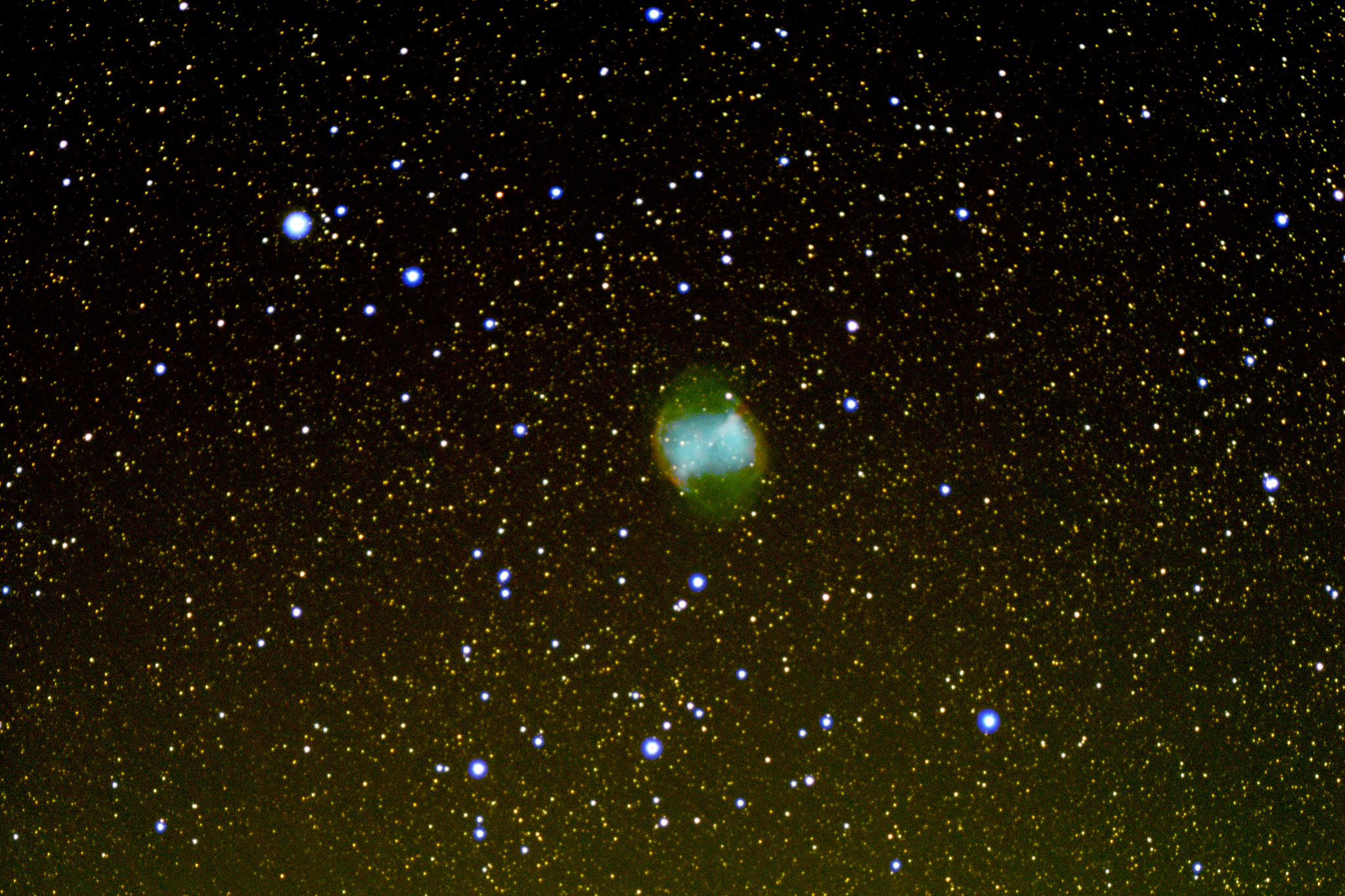 """M27 Dumbbell Nebula (Jonathan Anderson) 4"""" f10 achro on HEQ5 Pro Canon 700d (umod) @ISO 1600 120x40sec + darks, flats etc. Processed DSS & GIMP"""