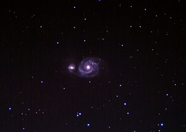 "M51 Whirlpool Galaxy (Jonathan Anderson ) 4"" f10 achro on HEQ5 Pro Canon 700d (umod) @ISO 1600 120x40sec + darks, flats etc. Processed DSS & GIMP"