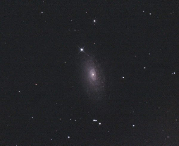 M63 Sunflower Galaxy (Nigel Goodman) 050421 SLCC guided LProMax (1 of 1) Only 6 viable subs (out of 65) on a windy, cloudy night. Experimental gain setting of 900. Don't know that the conditions allow for a judgement on how well that worked...