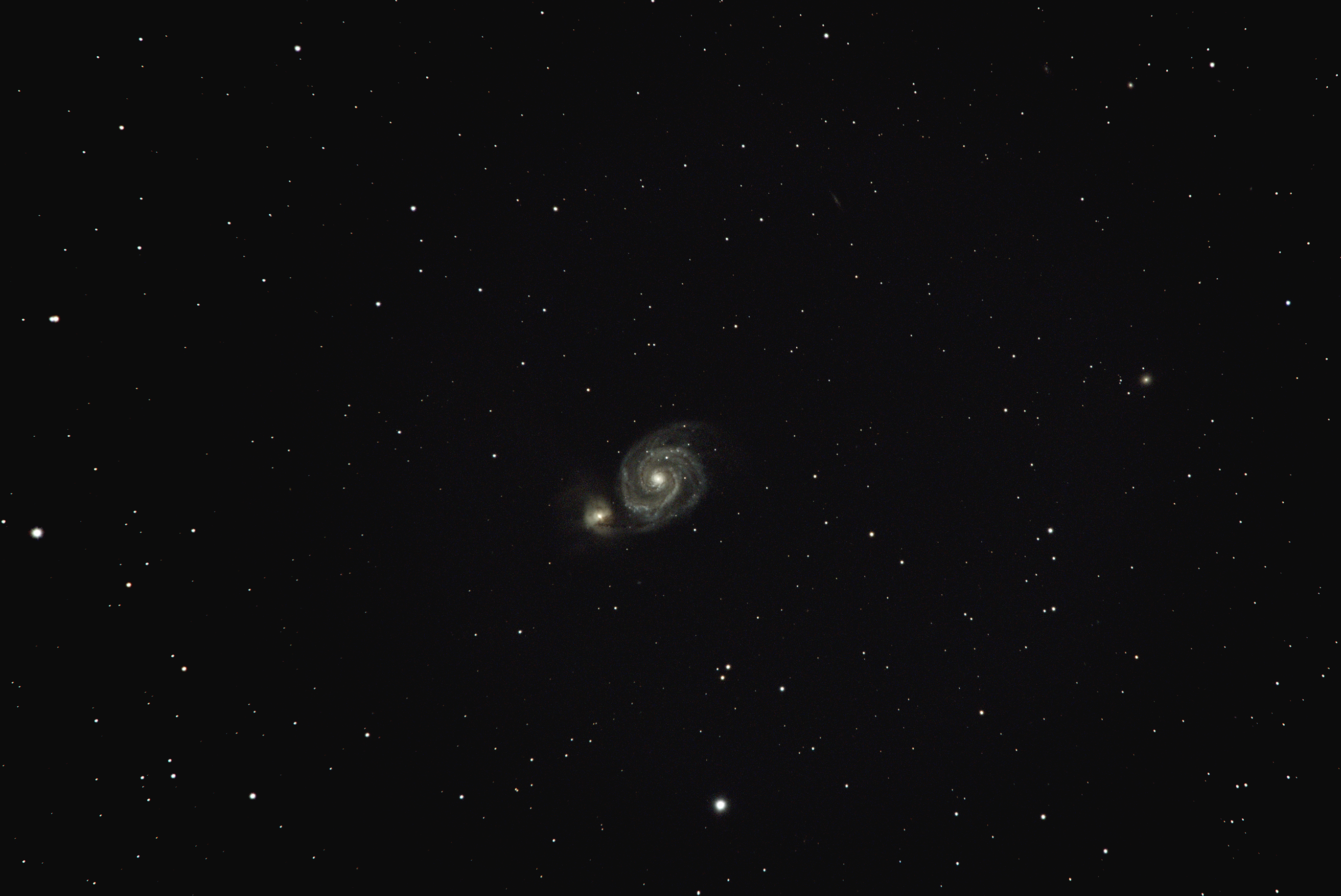 M51 (Ramsay McIver) Takahashi FSQ-106ED with a Tak x 1.6 adaptor and a Canon x 1.4 on a Celestron AVX unguided with a Canon Ra. 31 x 30s @ ISO 6400 and 25 x 15s @ ISO 25600 stacked in APP and processed in Photoshop. No flats or darks were used to make this image. I think using the Tak 1.6 and the Canon 1.4 is just about taking the magnification as far as I can go, similar to a 1187mm lens on a FF camera.