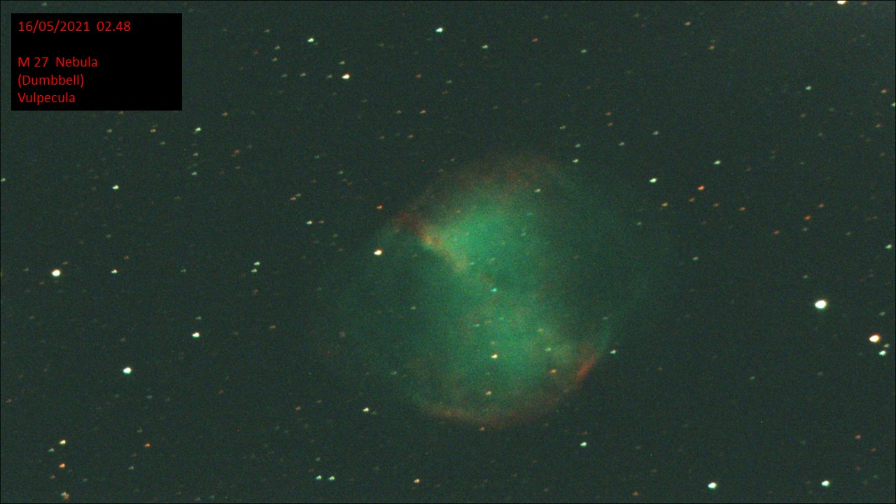 M27 Nebula (Dumbbell) Vulpecula (Hugh C. Somerville) Sat 15th May 2021