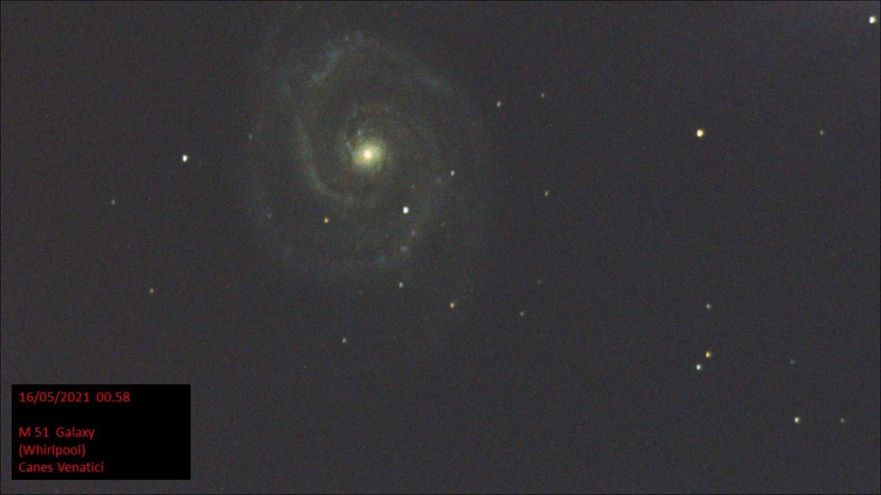 M51 Galaxy (Whirlpool) Canes Venatici (Hugh C. Somerville) Sat 15th May 2021