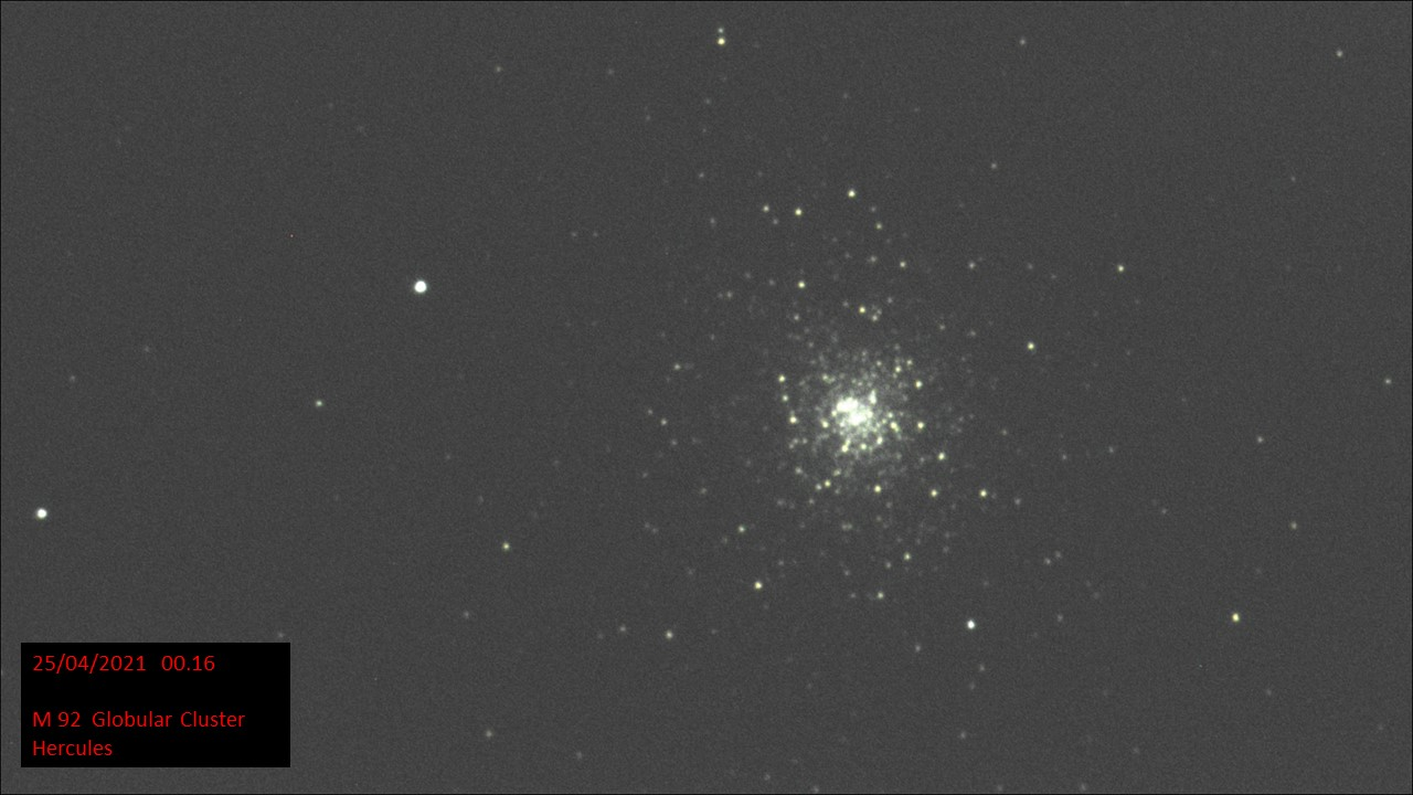 M 92 Globular Cluster Hercules (Hugh C. Somerville)Sat 24th Apr 2021