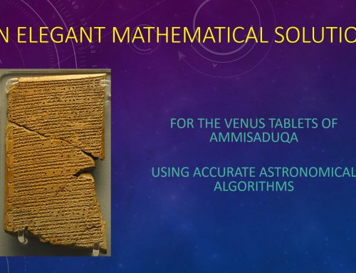An elegant mathematical solution for the Venus Tablet of Ammisaduqa