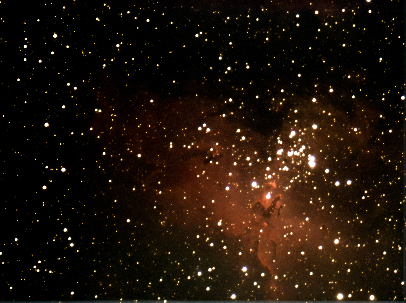 M16 'The Pillars of Creation' (Andrew Farrow) Taken 04.08.21 ES 127 Triplet. Atik Infinity camera 30secs exps for 1020sec total Lightroom and DeNoise processing No filters used