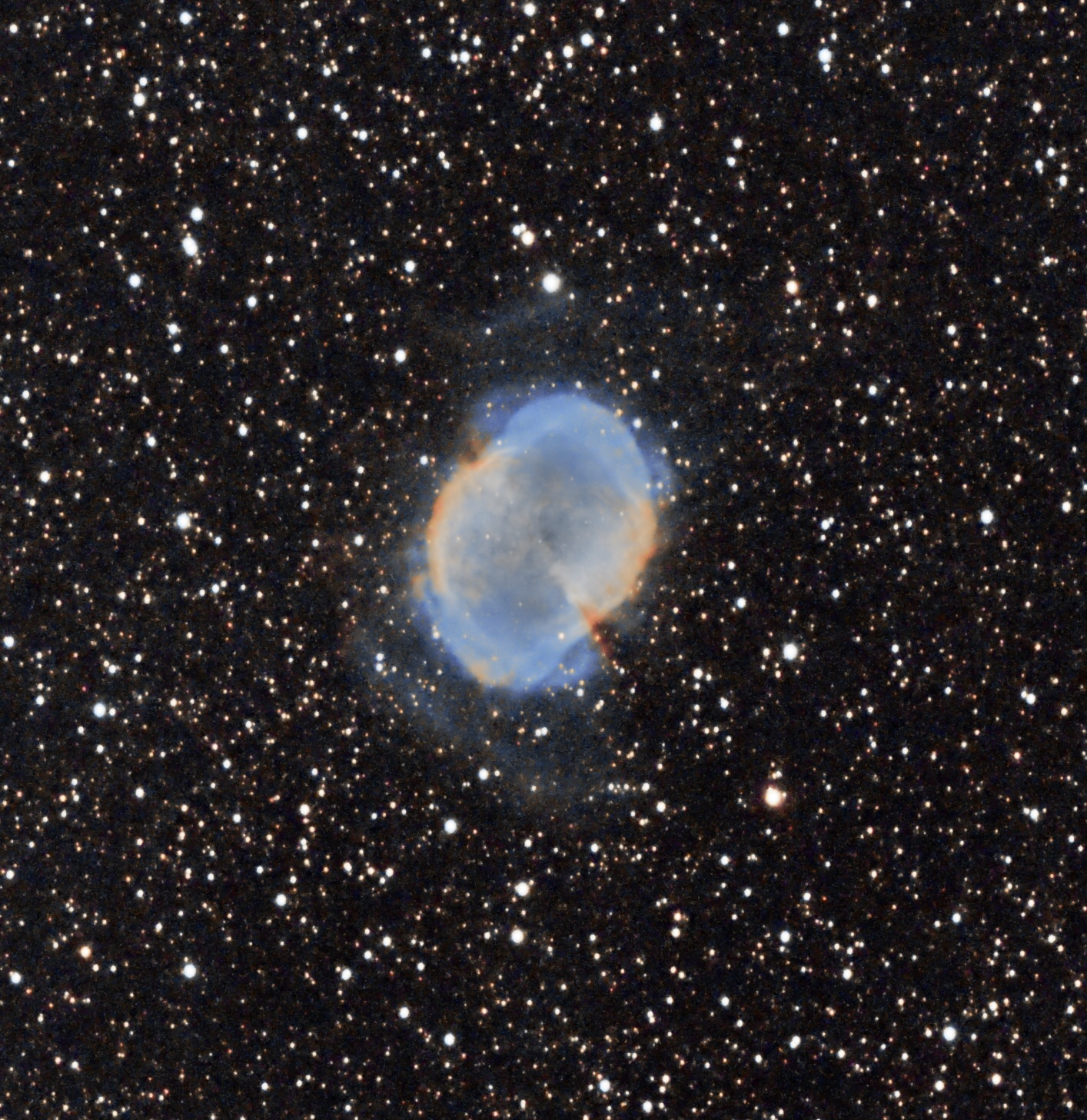 """M27 Dumbbell nebula (Pat Devine) July 18th 2021 Celestron RASA 8"""" ZWO 183mc pro IDAS NBZ filter ZWO air pro Sky-Watcher HEQ5 Pro 35 x 60s lights with darks, flats and bias frames., cropped. Gain 122 at -10C processed in APP and Pixinsight"""