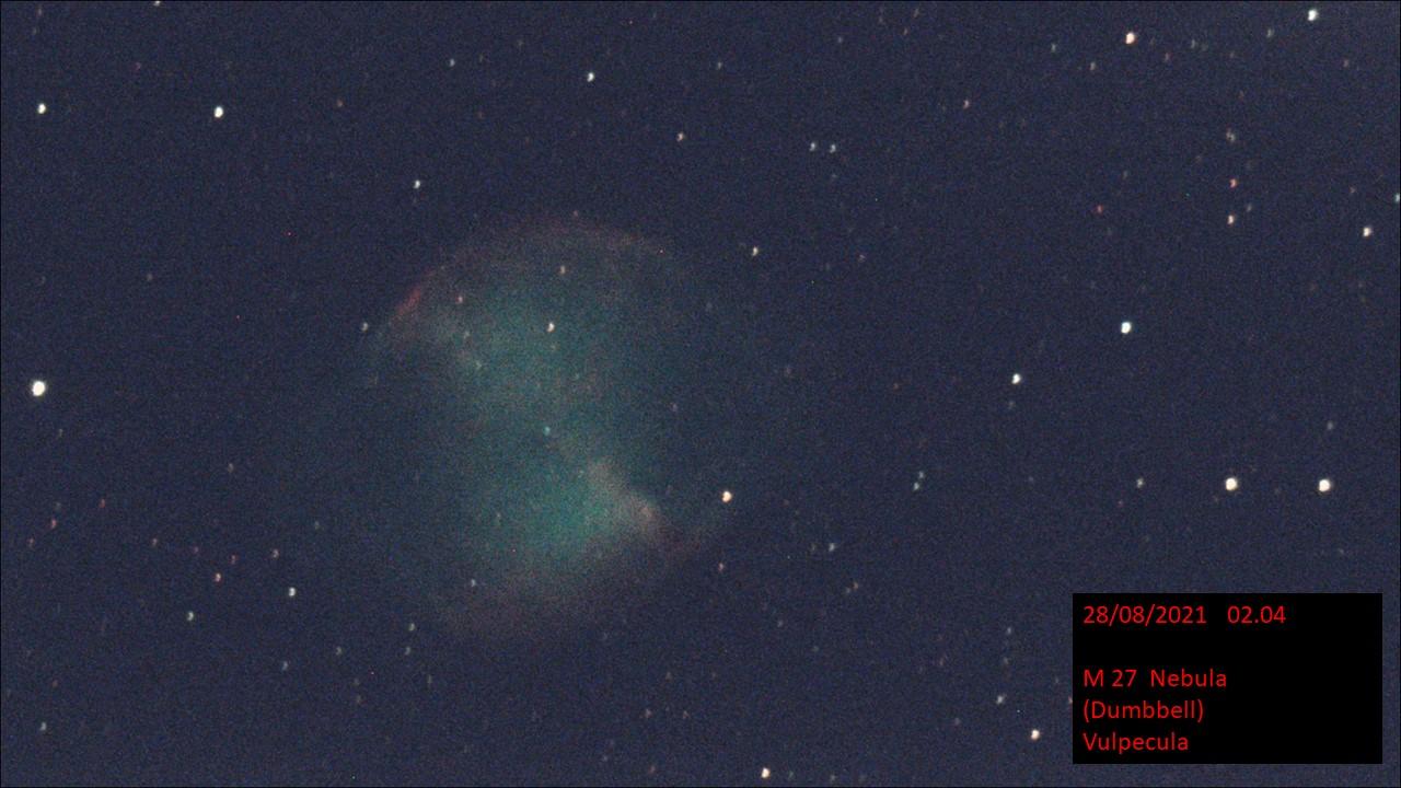 M 27 Dumbbell Nebula Vulpecula (Hugh C. Somerville) Fri 27th Aug 2021