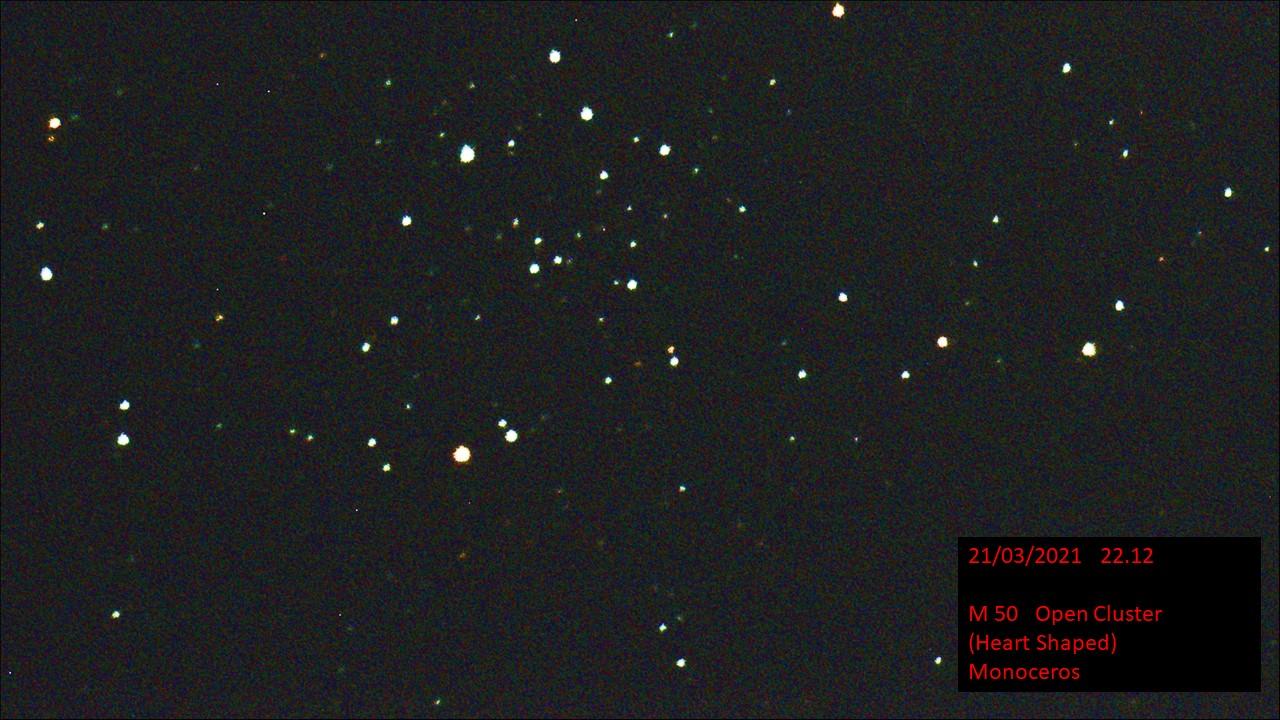 M 50 Open Cluster (Heart shaped) Monoceros(Hugh C. Somerville) Sun 21st Mar 2021